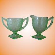 Indiana Green Depression Glass #612/Horseshoe Open Sugar and Creamer