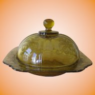 Federal Glass Madrid Recollection Amber Butter Dish