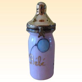 Vintage Limoges France Hand Painted Pink and Gold Baby Bottle Trinket Box