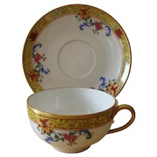 Tressemann & Vogt  Limoges Cup and Saucer Vieux Chine Pattern