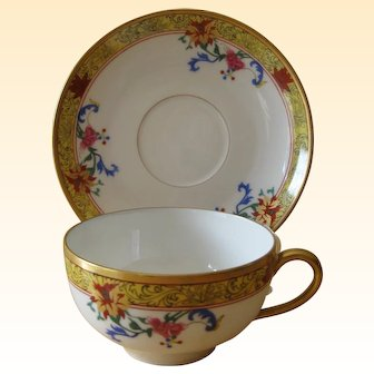 T&V Limoges Cup and Saucer Vieux Chine Pattern
