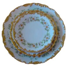 Tressemann & Vogt Limoges Charger and Plates White Daisies