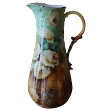 Antique GDA Limoges France Hand Painted Pitcher Signed and Dated