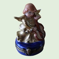 Vintage Chamart Limoges France Hand Painted Musician Angel Box
