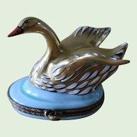Vintage Limoges France Hand Painted Swan Box Exclusif Destieux