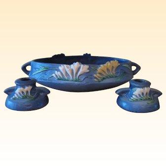 "Roseville Blue Freesia Bowl 466-10"" and Freesia Candlesticks 1160-2"""