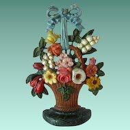 Hubley Cast Iron Doorstop Floral Basket # 189