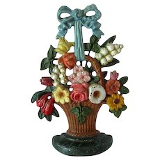 Hubley Cast Iron Doorstop Floral Basket # 189