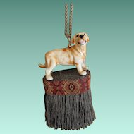 Vintage Ceramic Dog Tassel Hand Made and Hand Painted
