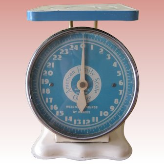 Vintage American Family Scale 25 Lbs Capacity Cream and Blue