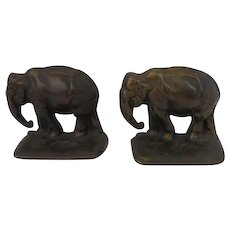 Pair of Cast Iron Bronze Finish Elephant Bookends c.1920 - Red Tag Sale Item