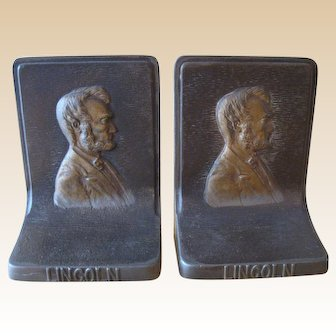 Vintage Bradley Hubbard Cast Iron Abraham Lincoln Bookends