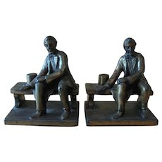 Vintage Cast Iron Abraham Lincoln Bookends After G.Borglum Sculpture