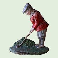 Vintage Hubley Cast Iron Golfer Doorstop