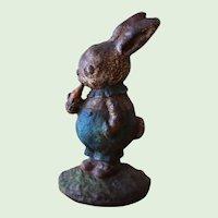 Vintage Hubley Cast Iron Peter Rabbit Doorstop