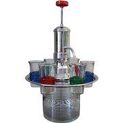 Vintage Brandy Pump Chrome and Glass Revolving Shot Glass Tray