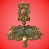 Vintage Match Holder Ornate Metal and Slag Glass with Handle
