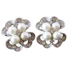 Vintage Bogoff Clip Earrings Four swirls Faux pearls and Rhinestones