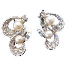 Vintage Bogoff Clip Earrings Two swirls Faux pearls and Rhinestones