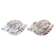 Vintage Bogoff Clear Rhinestones Clip Earrings