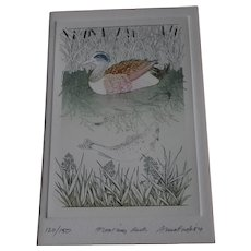 """Anna Pugh 1984 LE signed etching """" Floating Duck"""""""