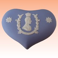 Wedgwood 1953 Jasperware Blue Heart Shaped Box Duke of Edinburgh