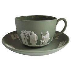Wedgwood 1970 Jasperware Flat Cup and Saucer Cream on Celadon