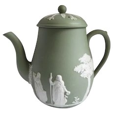 Wedgwood 1966 Jasperware Coffee Pot and Lid Cream on Celadon