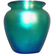Steuben blue aurene miniature vase