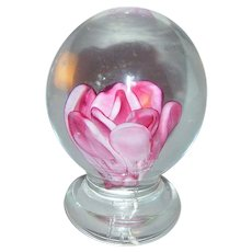 Rose pedasteled art glass paperweight.