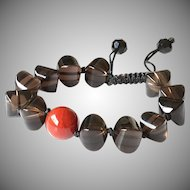 Smoky Quartz with Carnelian Gemstone Bracelet