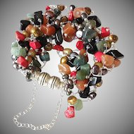 Seven Strand Multi-Color Gemstone Bracelet