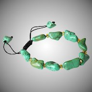 Turquoise Bracelet with Yellow Austrian Crystals.