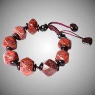 Russian Pink Agate and Garnet adjustable Bracelet