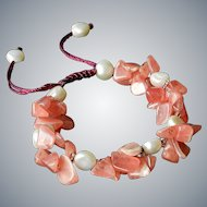 Rhodochrosite with cultured Freshwater Pearls Bracelet