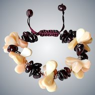 Sea Bamboo Corals and Garnet Bracelet