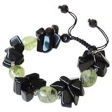 Green Rutilated Quartz and Black Obsidian Bracelet