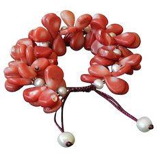 Sea Bamboo corals Bracelet with cultured White Pearls
