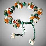 Carnelian, Howlite and Malachite Bracelet