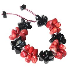 Black Obsidian Bracelet with Red Sea Bamboo