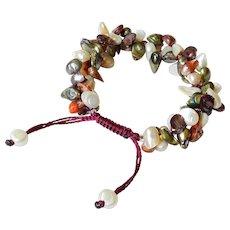 Blister Freshwater cultured Pearl Bracelet, white, green, mauve