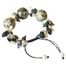 Abalone Shell Mosaic Balls with cultured blister Freshwater Pearls Bracelet