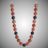 Carnelian and Black Agate Necklace 17.5""