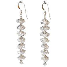 """Shimmery White Moonstone Earrings 2.5"""""""