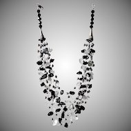 Clear Quartz, Black Obsidian and cultured Black Freshwater Pearl Necklace