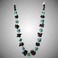 Turquoise with Black Obsidian  Necklace