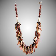 Mother of Pearl Shells with Garnet Necklace