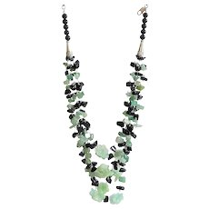 Black Obsidian with Green Aventurine and Jade Flowers Gemstone Necklace