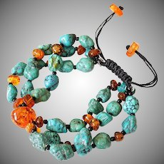 Baltic Amber with reconstituted Turquoise Bracelet