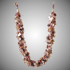 Rose Quartz, Mother of Pearl and Garnet Necklace